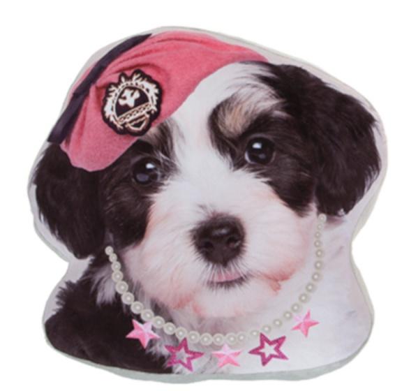 Kamparo kussen hondenkop roze muts 37 cm zwart wit