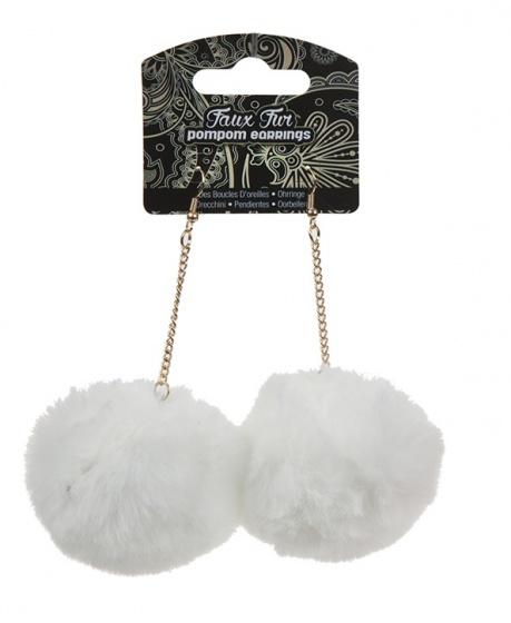 Kamparo oorbellen pompom wit 4 cm