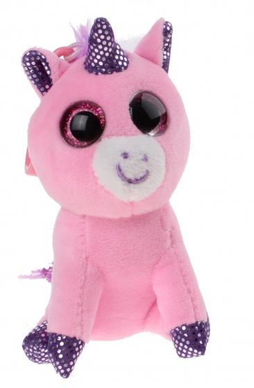 Kamparo sleutelhanger eenhoorn clip on sparkle eyes 11 cm roze