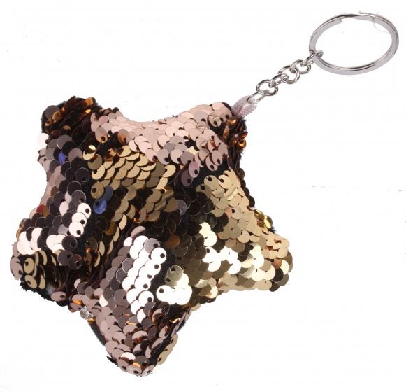 Kamparo sleutelhanger met draai pailletten brons/goud 8 cm