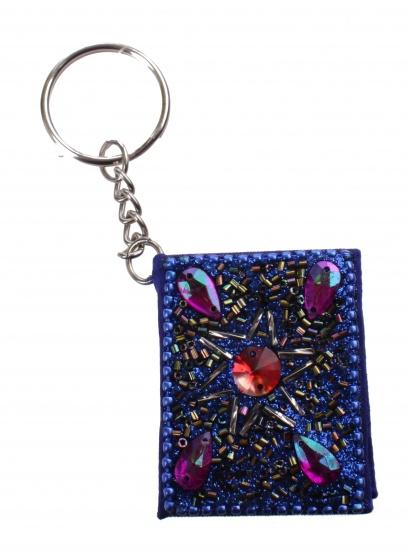 Kamparo sleutelhanger met memoboekje donkerblauw 4 cm