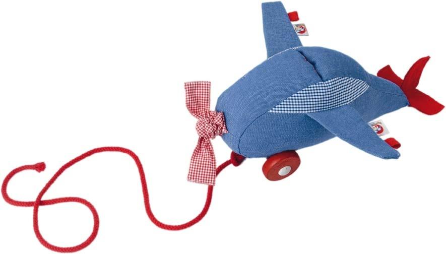 Kathe kruse trekvoertuig vliegtuig 32 cm blauw rood 256075 1540828621