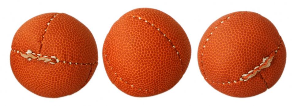 Kids At Work ballen blikgooien 7 cm leer rood 3 stuks