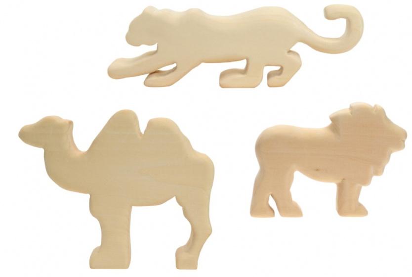Kids At Work kameel, jaguar en leeuw houtsnijwerk groot