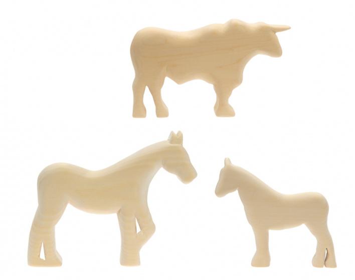 Kids At Work paard, pony en stier houtsnijwerk groot