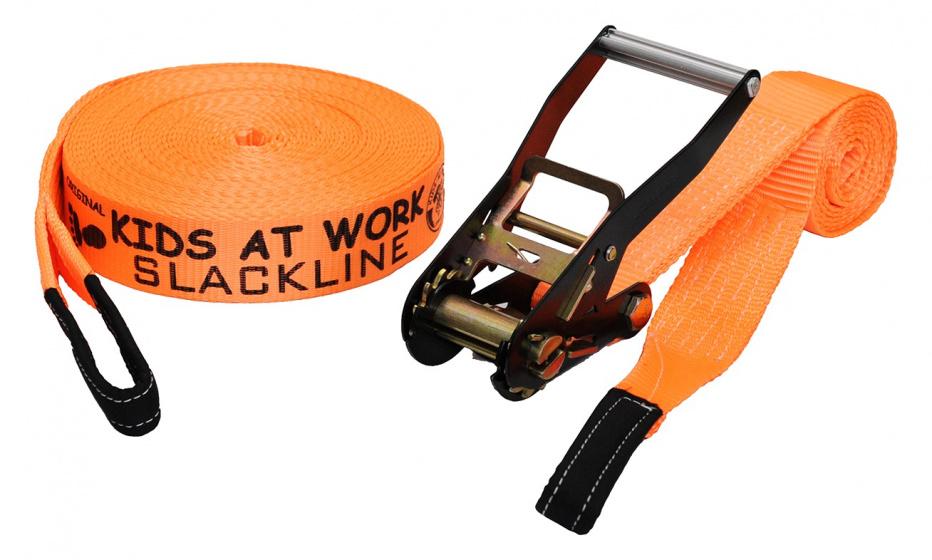Kids At Work slackline 17,5 meter polyester oranje