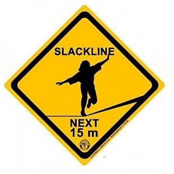 Kids At Work slackline waarschuwingsbord junior 21 cm geel