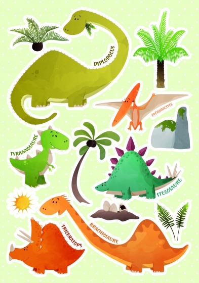 Kids Decor muurstickers Dinosaurussen 47 x 70 cm