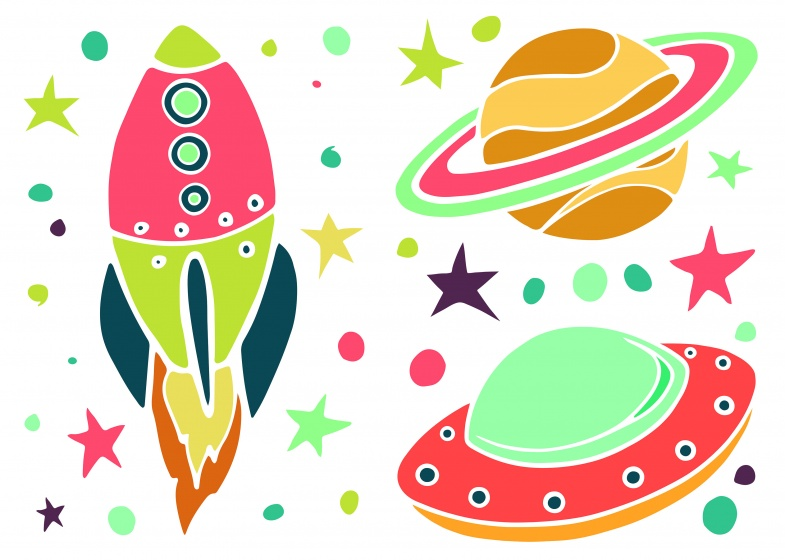 Kids Decor muurstickers Ufo 35 delig