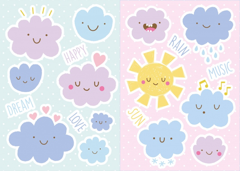 Kids Decor muurstickers wolken happy 19 delig