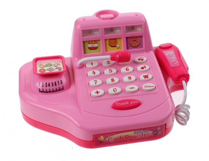 Kids Fun speelgoed kassa met boodscappen roze