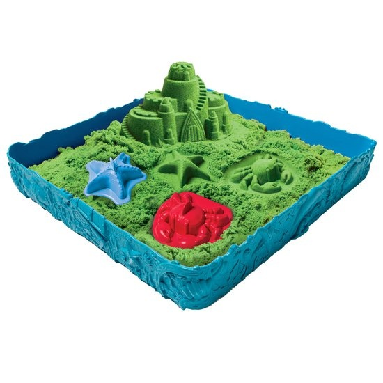 Kinetic Sand Groen speelzand met zandbak 453 gram