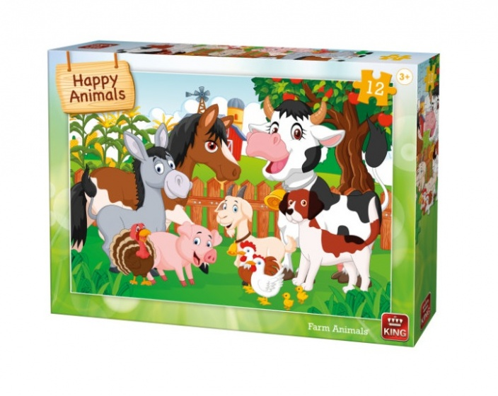 King kinderpuzzel Farm Animals 12 stuks