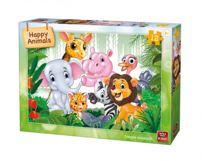 King kinderpuzzel Jungle Animals 12 stuks