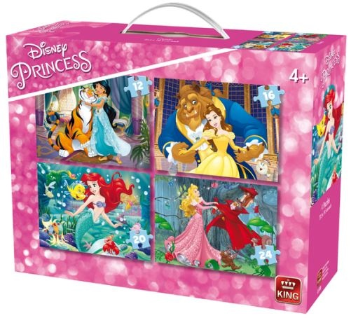 King legpuzzel 4 in 1 Disney Princesses 12 24 stukjes