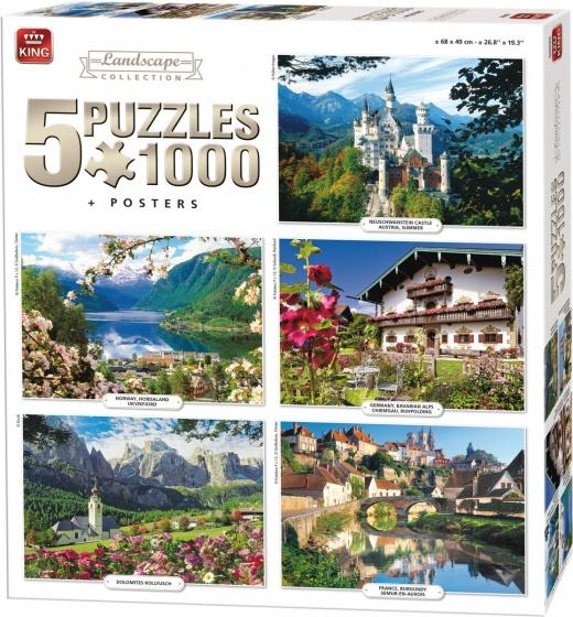 King legpuzzel Landscape Collection 5 puzzels 1000 stukjes