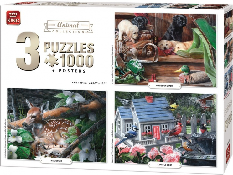 King legpuzzel Animal Collection 3 puzzels 1000 stukjes