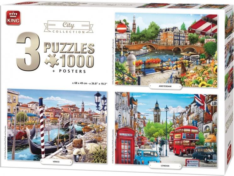 King legpuzzel City Collection 3 puzzels 1000 stukjes