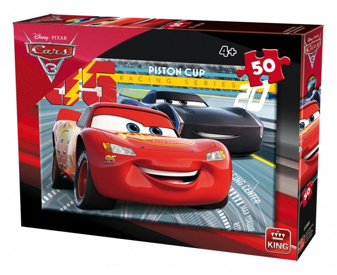 King legpuzzel Disney Cars 3 rood/blauw 50 stukjes