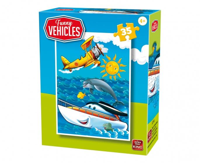 King legpuzzel Funny Vehicles Rescue Boat 35 stuks