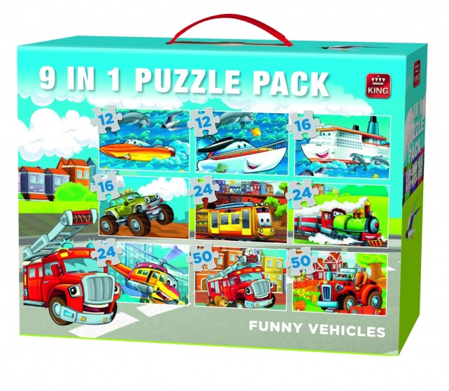 King Legpuzzel Funny Vehicles 9 In 1 12 50 Stukjes
