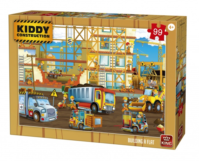 King legpuzzel Kiddy Construction Building a flat 99 stukjes