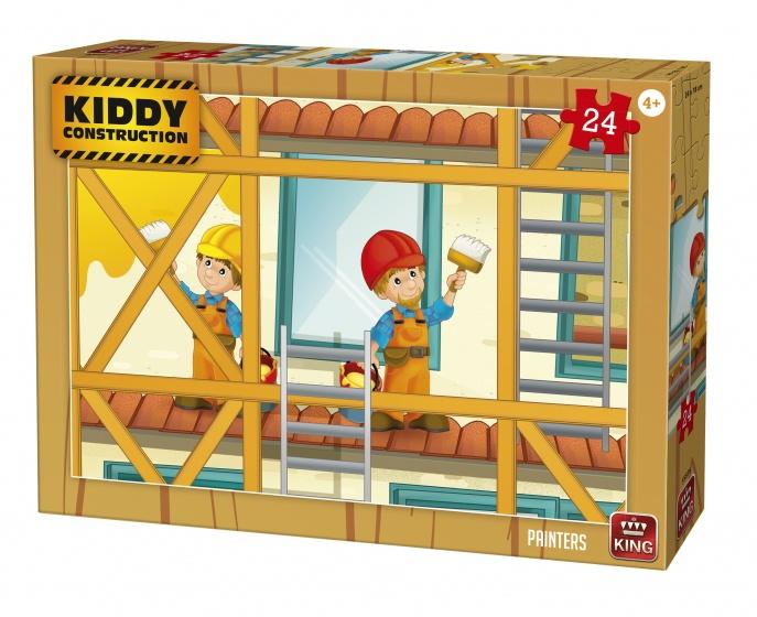 King legpuzzel Kiddy Construction Painters 24 stukjes