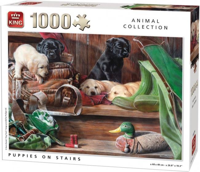 King legpuzzel Puppies On Stairs 1000 stukjes