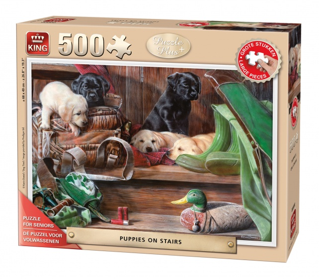 King legpuzzel puppy's op de trap 500 stukjes 68 x 49 cm