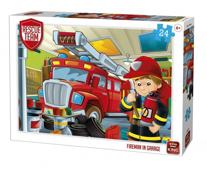 King legpuzzel Rescue Team Fireman in Garage 24 stukjes
