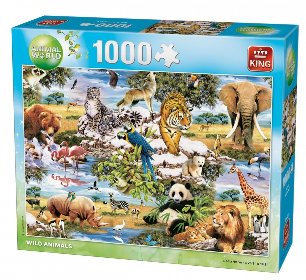 King legpuzzel wilde dieren 1000 stukjes 68 x 49 cm