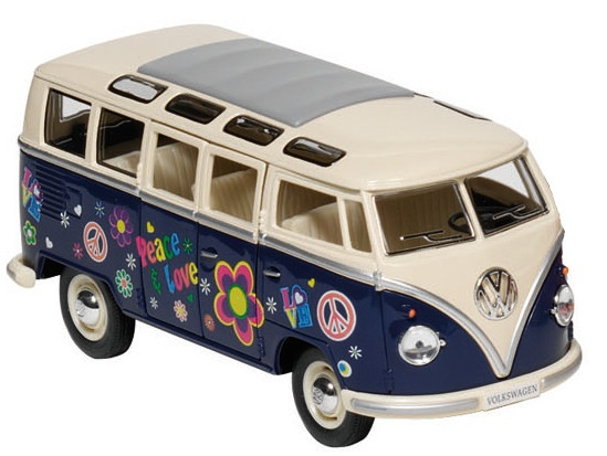 goki metals volkswagen microbus blau mit print internet toys. Black Bedroom Furniture Sets. Home Design Ideas