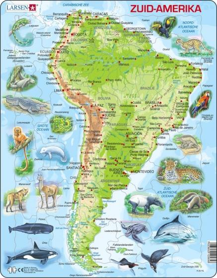 Larsen legpuzzel Maxi Zuid Amerika junior karton 65 stukjes