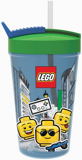 LEGO drinkbeker met rietje Iconic blauw/groen