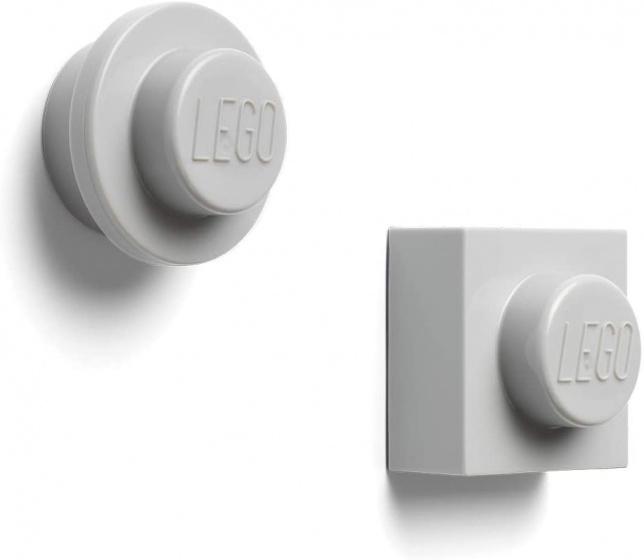 LEGO magneten 4,7 cm ABS/metaal grijs 2 stuks
