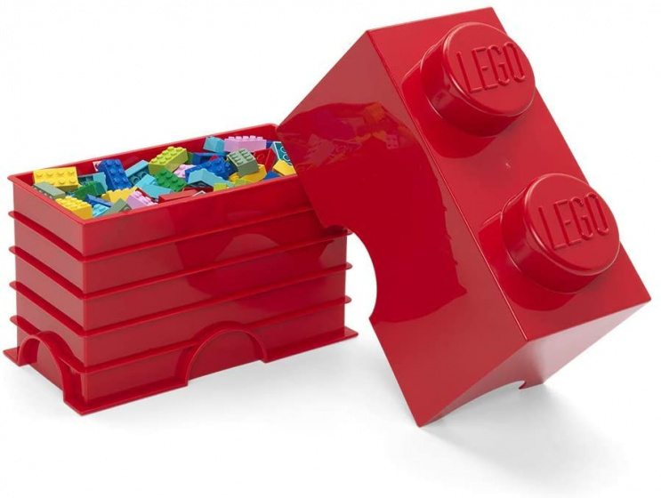 storage stone 2 studs 25 x 18 cm polypropylene red