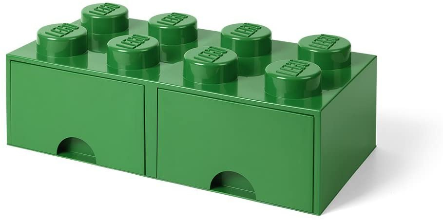 storage stone with drawers 8 studs 50 x 18 cm PP green