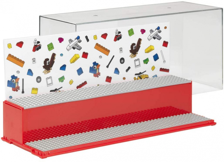 display case Iconic mini figures 38 x 18 cm polypropylene red