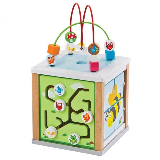 Lelin Toys activiteiten kubus junior 20 x 33 cm hout geel/groen