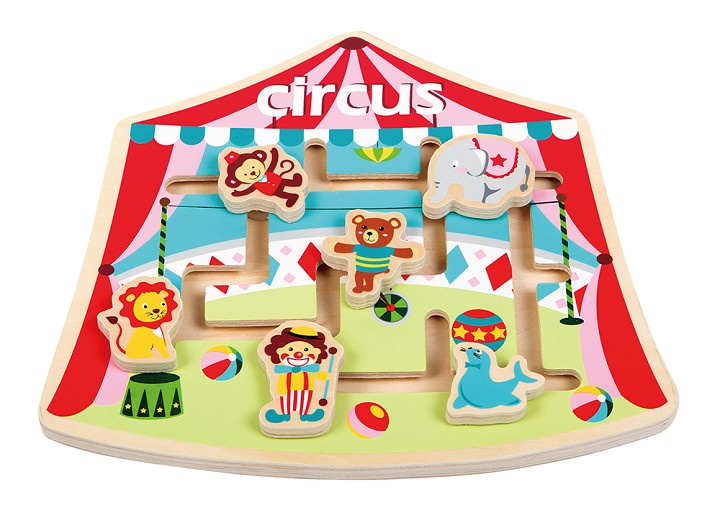 Lelin Toys labyrinth puzzel Circus junior 26 x 23 cm hout 7 delig