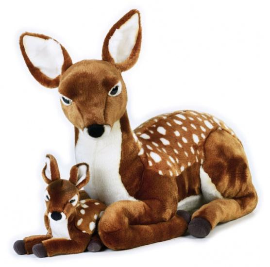 Lelly Knuffel Hert met Baby 68 cm bruin