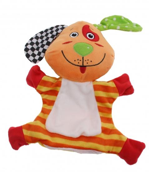 Lelly Handpop Baby Hond 24 cm oranje/rood/geel