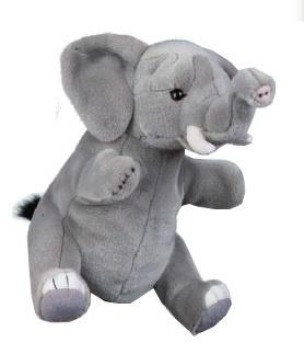 Lelly Handpop olifant 27 cm grijs