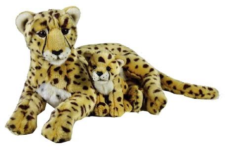 Lelly Knuffel Cheetah met Baby 50 cm bruin