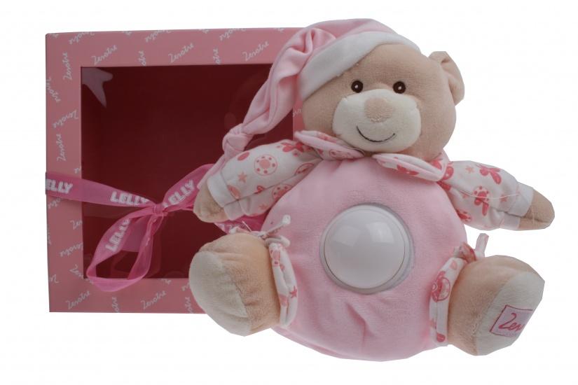 Lelly Knuffelbeer met nachtlamp meisjes 22 cm roze