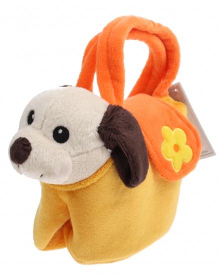 Lelly Knuffelhond in tasje 18 cm geel/oranje