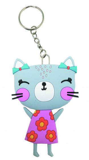 Lemon Ribbon sleutelhanger Kat junior 9 cm PVC grijs/roze