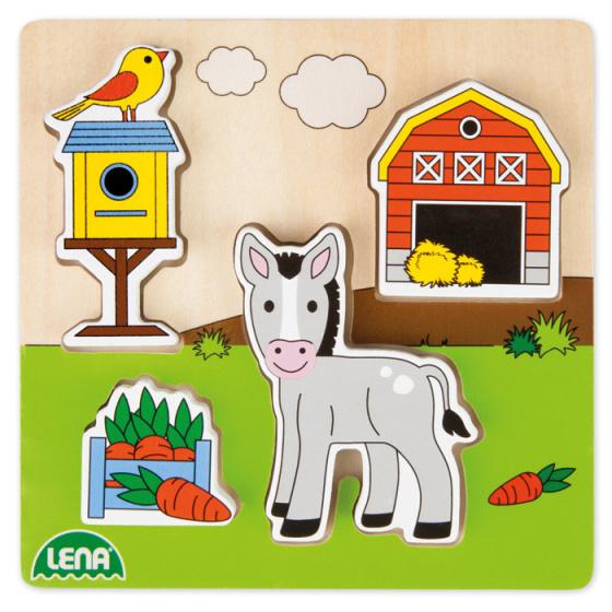 Lena vormenpuzzel boerderij 15 cm hout blank/groen 5 delig