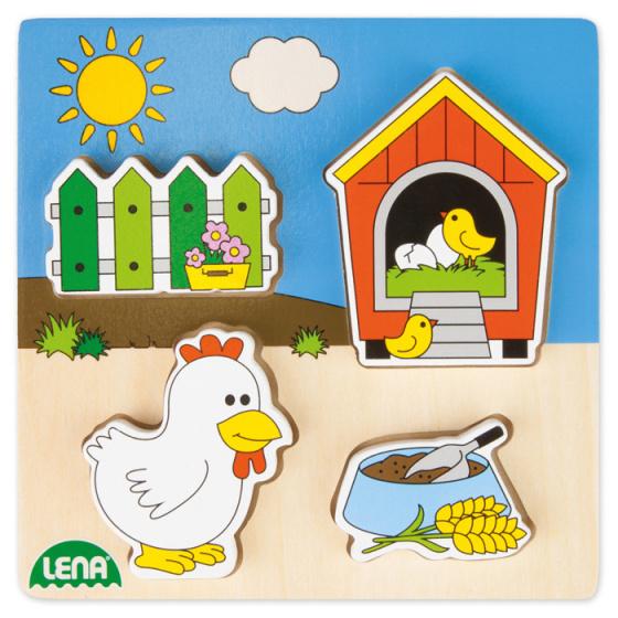 Lena vormenpuzzel kippenhok 15 cm hout blank/blauw 5 delig