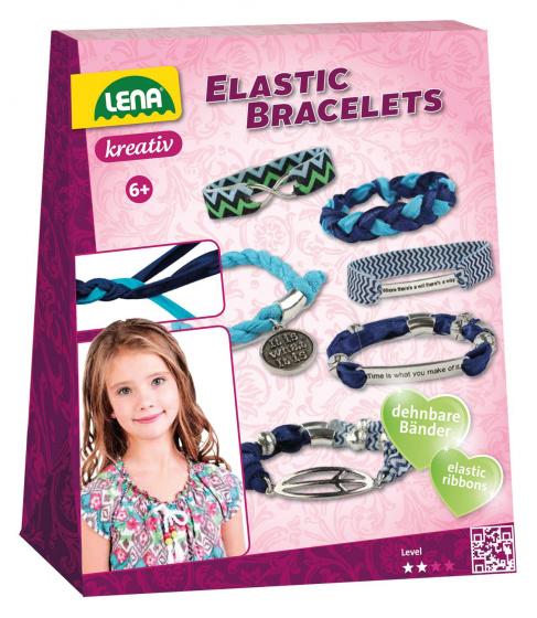 Lena maak je eigen armbanden meisjes polyester blauw 24 delig